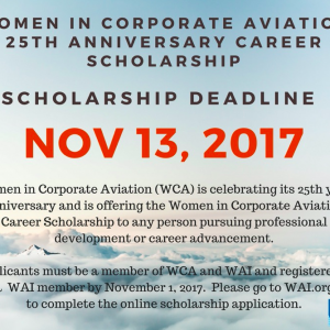 WCA 25th Anniversary Career Scholarship – Deadline Nov. 13, 2017!