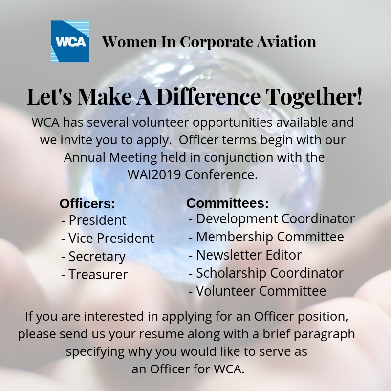 Volunteer Opportunities Available - Women in Corporate Aviation